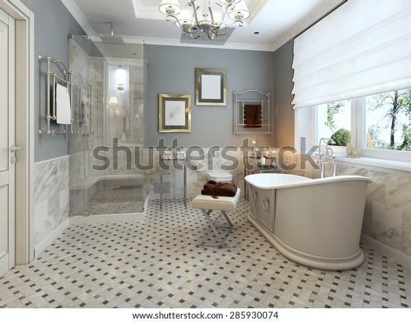 Phòng tắm sáng Provence. 3d render