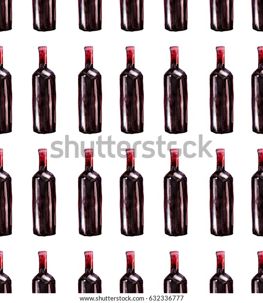 Bright beautiful abstract graphic lovely wonderful cute delicious tasty yummy summer  bottles of red wine pattern watercolor hand illustration