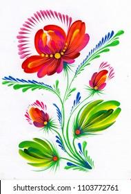bright beautiful stylized flowers
