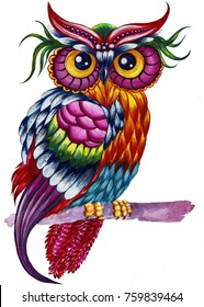 bright beautiful stylized owl