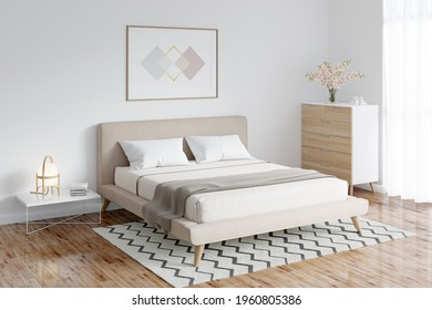 A bright bedroom with a horizontal poster above the double bed, next to it is a lamp on a coffee table, a vase of flowers on a dresser next to the window, a carpet on the parquet floor. 3d render