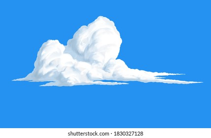 Bright big white cloud hand drawn illustration isolated on blue background