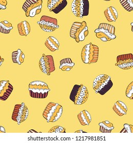 Bright birthday pattern on yellow, white and black. For food poster design. Seamless pattern cake.