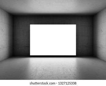 Bright blank screen in dark room with concrete walls. 3D illustration.