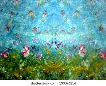 bright blue abstract background with oil paints