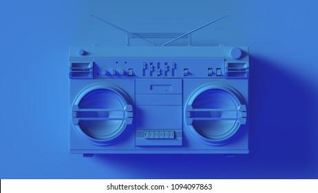 Bright Blue Boombox 3d illustration