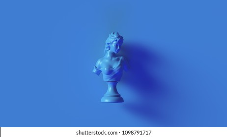 Bright Blue Bust Sculpture 3d illustration