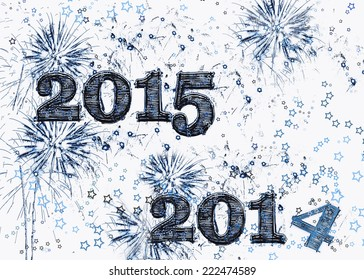Happy new year greeting card design stock illustration 120463477 bright blue fireworks and stars graphic illustration celebrating happy new years eve 2015 a fresh start m4hsunfo