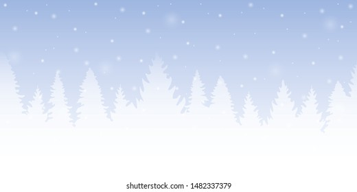 bright blue forest winter background with firs and snow illustration