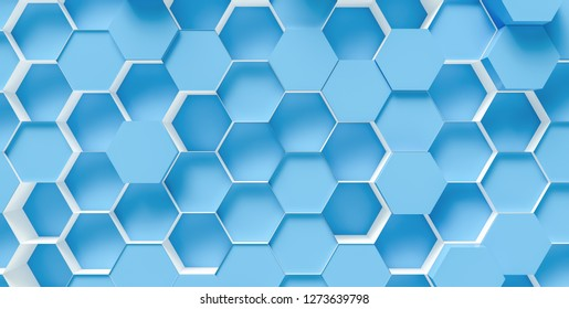 bright blue Hexagon honeycomb Background - 3D rendering - Illustration