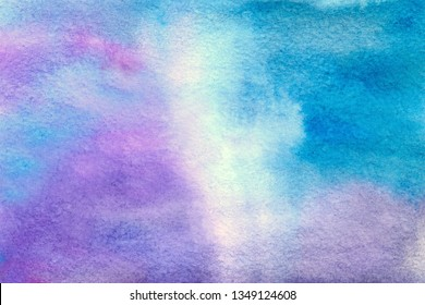Bright blue and pink abstract watercolor texture hand drawn background