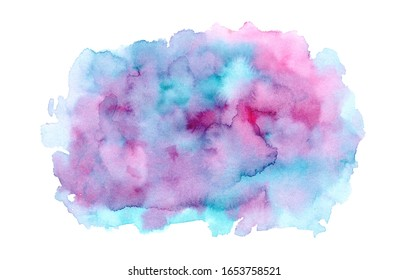 Bright blue, pink and turquoise expressive wet watercolor texture blob isolated on white background, wash technique. Modern creative ink stain for decoration, abstract water, map or cloud concept