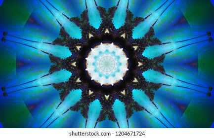 Bright blue pulsar star-shaped mandala Art with a beautiful repetitive pattern.