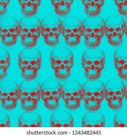 Bright blue and red seamless illustration with skulls. Retro grunge vintage seamless pattern backound