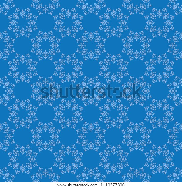 bright blue seamless pattern with vintage ornament