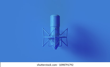 Bright Blue Vintage Microphone 3d illustration