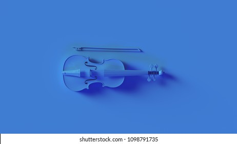 Bright Blue Violin 3d illustration