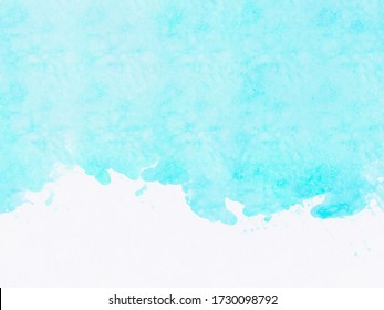 bright blue watercolour paint on white paper texture background