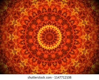 bright bold orange and yellow ornate mandala design with ornate arabesque  geometric symmetry
