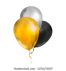 Bright bunch of three luxury balloons in gold, silver and black colours isolated on white