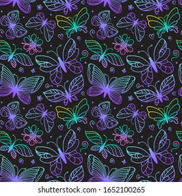 Bright butterflies seamless pattern. Coloring hand drawn line illustrations. Bright butterfly magic color sketch print on a dark background. Stock surface fashion design for girls