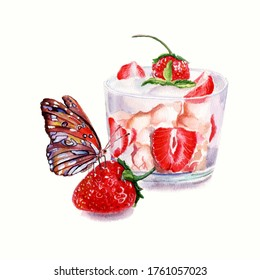 Bright butterfly on strawberry dessert watercolor white background