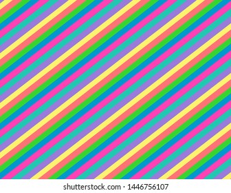Bright candy coloured  diagonal stripes.  Groovy, psychedelic party background perfect for parties and celebrations.