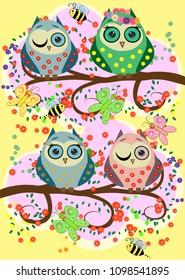 Bright, cartoonish, flirtatious, loving owls on the flowering branches of a tree. Spring, summer, girlfriends