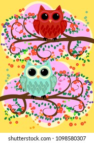 Bright, cartoonish, flirtatious, loving owls on the flowering branches of a tree. Spring, summer