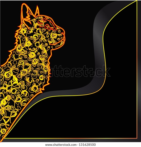 bright cat on a black background
