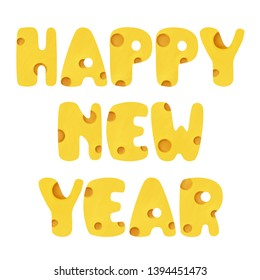 Bright cheese Happy New Year lettering. Bold colored tasty gratulations white isolated