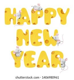 Bright cheese Happy New Year lettering with cute tiny mouses. Bold colored tasty gratulations white isolated