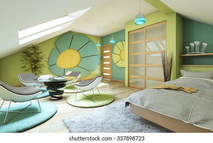 Bright Children Room On Attic 3d Rendering