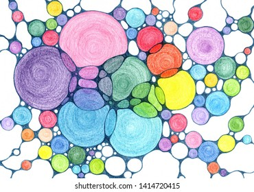 Bright circle shpes of rainbow spectrum colors pencil drawing background. Childish educational chemical background with abstract circles colorful grid. Round shapes doodle rainbow background.