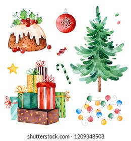 Bright collection with Christmas tree,candy,garland,gifts and other decorations.Watercolor holiday illustration.Perfect for your Christmas and New Year project,invitations,greeting cards,wallpapers