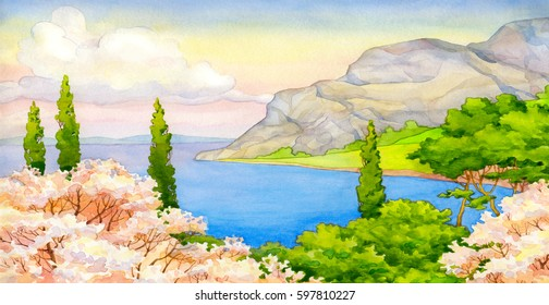 Bright color beautiful watercolour scene in japanese hand drawn style on paper backdrop and space for text. White cumulus in heaven over old lush pink flourish peach on rocky mounts at quiet blue bay
