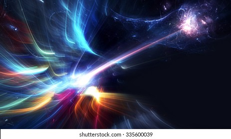 Bright color glowing lines. Festive Christmas background with light trails blurred effect. Shiny template. Abstract fantasy pattern for creative graphic design. Fractal art