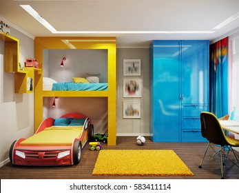 Bright colored and cozy children's room in modern style with bunk bed, large wardrobe and work desk. 3d rendering