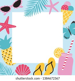 Bright colored square background with summer attributes and place for text in center. Frame decorated with fresh fruits, sunglasses, cocktail and tropical leaves. Seasonal illustration