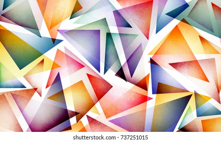 bright colorful abstract background design with layers of triangle shapes in bold colors of yellow red blue green purple orange gold and pink, modern contemporary trend layout