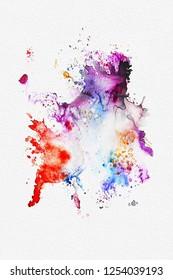 Bright colorful abstract watercolor splashes on white textured background