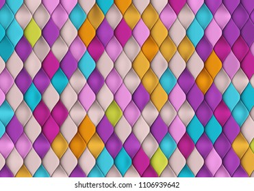 Bright Colorful Background with Fish Scale Texture. Vibrant Pattern with Squama. Random Colored Tiles