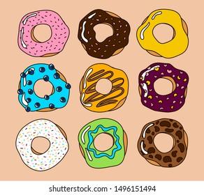 Bright colorful cartoon glazed donuts