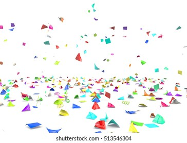 Bright and colorful confetti lying on the floor. Isolated background. 3D illustration