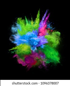 Bright colorful explosion of blue and green powder on black background. 3D illustration