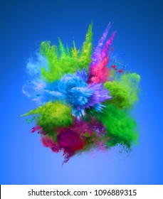 Bright colorful explosion of blue and green powder. Freeze motion of color powder exploding. 3D illustration