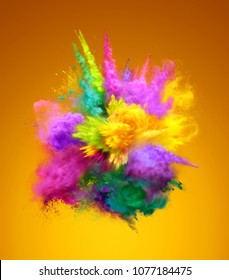 Bright colorful explosion of powder. Freeze motion of color powder exploding. 3D illustration