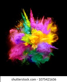 Bright colorful explosion of powder on black background. Illustration