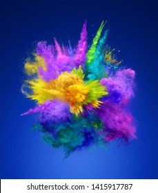 Bright colorful explosion of powder on blue background. Freeze motion of color powder exploding. 3D illustration