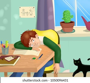 Bright colorful illustration of a boy who doesn't want to study and prepare his homework for school. He is sitting at the table bored. Black cat in his room with him. Cute and sweet picture.